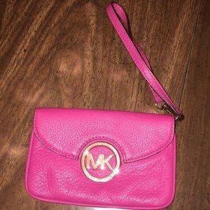 MK pink/red wristlet